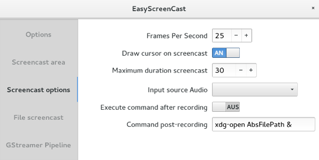 easyscreencast - options