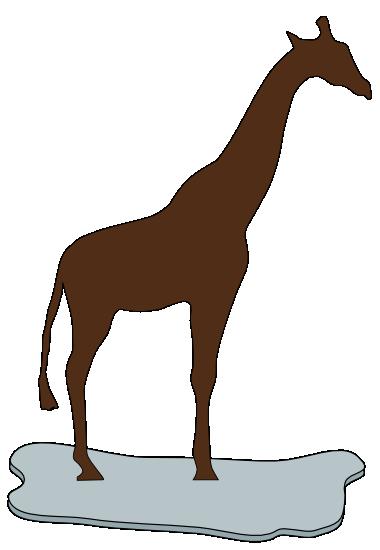 Giraffe auf einer Eisscholle braun